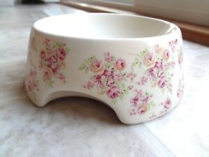 Simply Shabby Chic Pink Rose Small Dog/Cat Ceramic Food Bowl (Free Shipping)