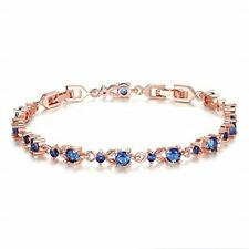 Fashion Exquisite Blue Round Zircon Rose Gold Bracelet Jewelry Birthday Gift