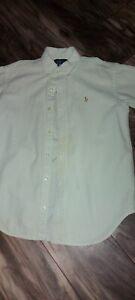 Polo Ralph Lauren Seersucker Shirt Size M (12-14) Green / White
