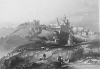 ITALY Town and Convent of Piazza - 1860s Antique Engraving Print