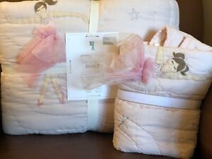 POTTERY BARN KIDS Pink Ballerina TWIN Quilt & EURO Sham 2 pc Set - NEW