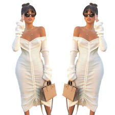 Women Off Shoulder Sexy Long Sleeve Personality Casual Club Drawstring Dresses