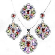Colorful 925 Silver Rhinestone Rainbow Jewelry Set Necklace Pendant+Earring Gift