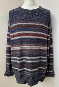 FAT FACE Mens Blue Stripe Cotton Blend Crew Neck Thick Knit Jumper Size XXL