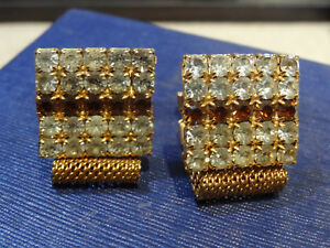 Vintage Estate Mesh Wrap Shirt Gold tn Cufflinks clear red rhinestone