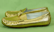 248 Cole Haan women Gold shiny leather moccasin Shoes EUC size 4