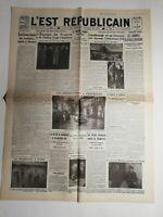 N497 La Une Du Journal L'est républicain 7  décembre 1933 l'équipe de France