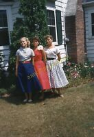 Pretty Women Dresses 1950s 35mm Slide Red Border Kodachrome Vtg Girls Fashion