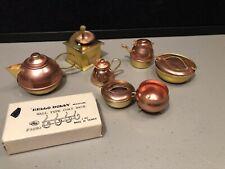 Lot Vintage Brass & Copper Look Metal Doll House Miniatures Pitcher Pot Kitchen