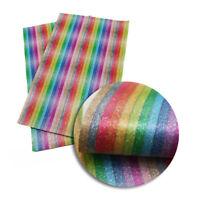 20*34cm Rainbow PU Synthetic Leather Fabric Sheets DIY Handmade Craft Hair Bows