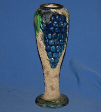 Vintage Hand Made Painted Floral Grapes Redware Pottery Vase