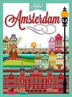 Hello Amsterdam Holland Europe Vintage Travel Art Poster Advertisement Print