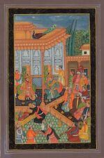 Mughal Empire Miniatura Pittura Mano Moghul Indiano Imperatore Tribunale Darbar