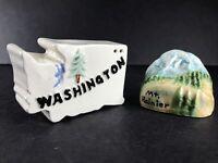 """Mt Rainier Washington State Vintage Salt and Pepper Shakers Ceramic 2"""" Tall Set"""