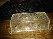 clear, plastic, ornate, butter dish