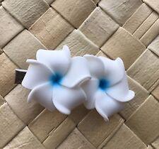 MINI Hawaiian Plumeria Flower Foam Hair Clip WHITE BLUE Wedding Luau Bridal