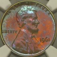 Toned NGC PF66 BN 1961 Proof Lincoln Memorial Cent 1c PQ Blue Pink Violet Color
