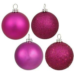 "2.4"" Magenta 4 Finish Ball Ornament 24 per Box~Christmas Balls"
