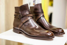 Mens Handmade Boots Brown Original Leather Side Buckle Casual Formal Wear Shoes