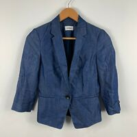 Marcs Womens Jacket Size 6 Blue Long Sleeve Linen Blend Button Closure Collared