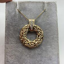 14k yellow gold textured round circle pendant diamond modernist wreath rope