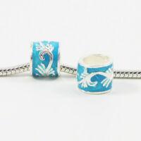 3 Beads - Aqua Blue Enamel Flourish Barrel Silver European Bead Charm E0378