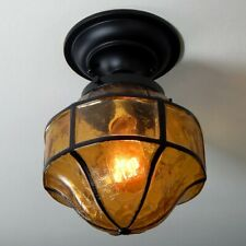 Semi-Flush Ceiling Light Featuring a Vintage Crackle Glass Shade and New Fixture