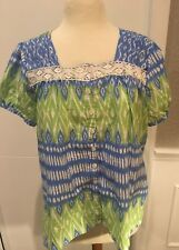 Kim Rogers Women's Petite PXL Top Shirt Short Sleeve Lace Blue Green Boho