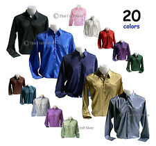 Mens Thai Silk Casual Dress Shirts Long Sleeve 6 Sizes / Small - XXXL 20 Colours