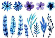 20 water slide nail decals Diy Manicure  feather flower mix blue purple trending