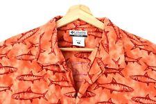 Columbia Mens XL Outdoors Classic Fit Orange Fish Print Button Down
