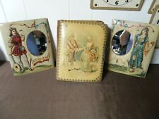 VINTAGE 1800's  PHOTO ALBUM  w/ PICTURE FRAME SIDE STANDING MIRRORS !!RARE!!