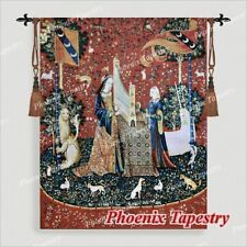 """The Lady & Unicorn Medieval Fine Art Tapestry Wall Hanging - HEARING 54""""x42"""", UK"""