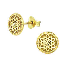 Gold Plated Engraved Sun Round Ethnic Sterling Silver Stud Earrings 8mm