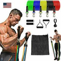 11 Set Resistance Band Train Yoga Pilates ABS Exercise Fitness Tube Workout Band