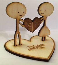 5th Wood Wedding Anniversary/Valentines Personalised Figurine Gift