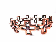 ELEGANT LADIES BRONZE &PURPLE DIAMANTE CROSS BRACELET BRAND NEW STUNNING (B2)