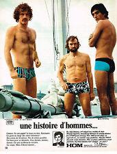PUBLICITE ADVERTISING 054  1972  HOM    sous vetements slip maillots de bain