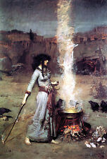 The Magic Circle  by John William Waterhouse  Giclee Canvas Print Repro
