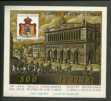 FOGLIETTO IPZS ITALIA ERINNOFILO 1987 NAPOLI TEATRO SAN CARLO 250° ANN.RIO