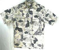 Pierre Cardin Mens Hawaiian Shirt Large Fish Palm Tiki Cotton Casual Collar
