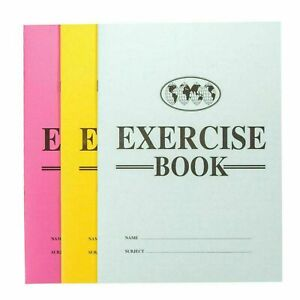 Pack of 6 Exercise Books - 48 Page Lined Paper Assorted Colour Note School