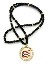 "NEW PUERTO RICO ROUND PENDANT & 30"" WOODEN BEAD CHAIN HIP HOP NECKLACE - RC2341G"