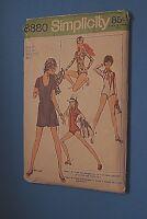 VTG 1970 Simplicity Sewing Pattern 8880 Size 12 Bust 34 Bodysuit Wrap Skirt Bag