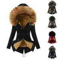 Women Winter Warm Hooded Coat Windproof Faux Fur Parka Jacket Trench Outwear New