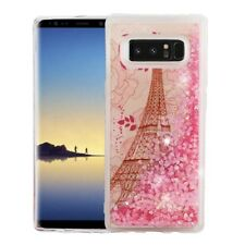 For SAMSUNG GALAXY NOTE 8 - Eiffel Tower Pink Glitter Hearts Liquid Water Case