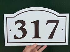 "Arched House Number Sign Address Plaque White/Brown 1/4"" King ColorCore"