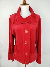 Jones New York Signature Womens L Red Velour Button Up Jacket Stretchy Pockets