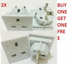 2XAll UK To EU Euro Europe European Travel Adapter Power Plug Convert 3 TO 2Pin