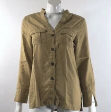 H&M Conscious Collection Womens Top 4 Gold Yellow Button Up Blouse Split Sleeve